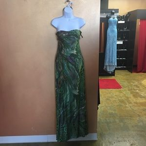Strapless Peacock Gown